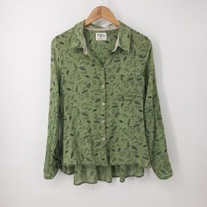 Anthropologie : Arabel Animal Green Button Down